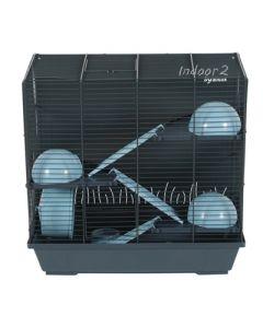 Zolux Knaagdierkooi Indoor2 Triplex Hamster Grijs / Blauw 47,5x29x51 Cm