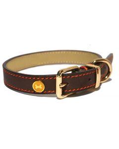 Luxury Leather Halsband Hond Leer Luxe Bruin 1,9x36-46 Cm