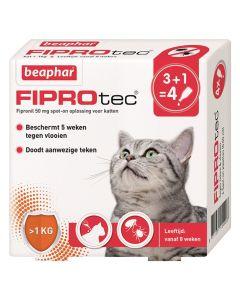 Beaphar Fiprotec Kat Tegen Vlooien & Teken 3+1 Pipet >1 Kg En 8 Weken