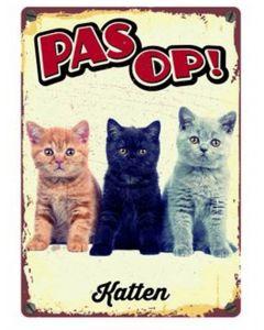 Plenty Gifts Waakbord Blik Katten 15x21 Cm