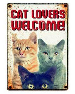 Plenty Gifts Waakbord Blik Cat Lovers Welcome 15x21 Cm